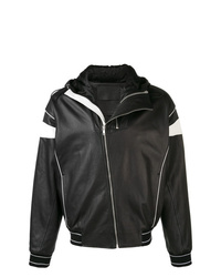 Cazadora de aviador de cuero en negro y blanco de Givenchy