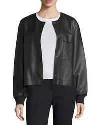 Cazadora de aviador de cuero negra de DKNY