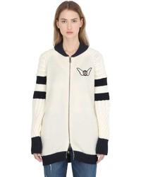 Cazadora de aviador de lana blanca de Tommy Hilfiger