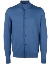 Cazadora de aviador de lana de punto azul de Loro Piana