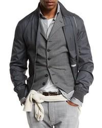 Cazadora de aviador de lana en gris oscuro de Brunello Cucinelli
