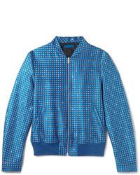 Cazadora de aviador de lana estampada azul de Alexander McQueen