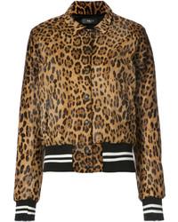 Cazadora de aviador de leopardo marrón de Amiri