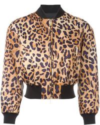 Cazadora de aviador de leopardo marrón de Dsquared2