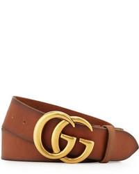 Ceinture en cuir brun Gucci