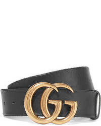 Ceinture en cuir noire Gucci