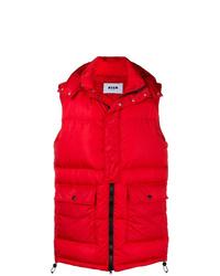 Chaleco de abrigo acolchado rojo de MSGM