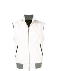 Chaleco de abrigo de cuero acolchado blanco de Ermenegildo Zegna