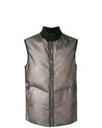 Chaleco de abrigo de cuero gris