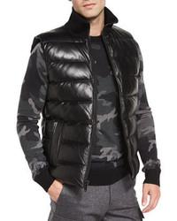 Chaleco de abrigo de cuero negro de Michael Kors