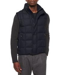 Chaleco de abrigo de lana azul marino de Moncler