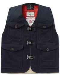 Chaleco de abrigo de lana azul marino de Nigel Cabourn