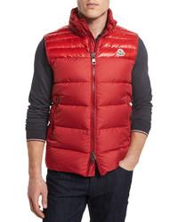 Chaleco de abrigo rojo de Moncler