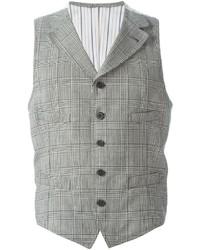 Chaleco de vestir a cuadros gris