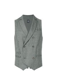 Chaleco de vestir a cuadros gris de Eleventy
