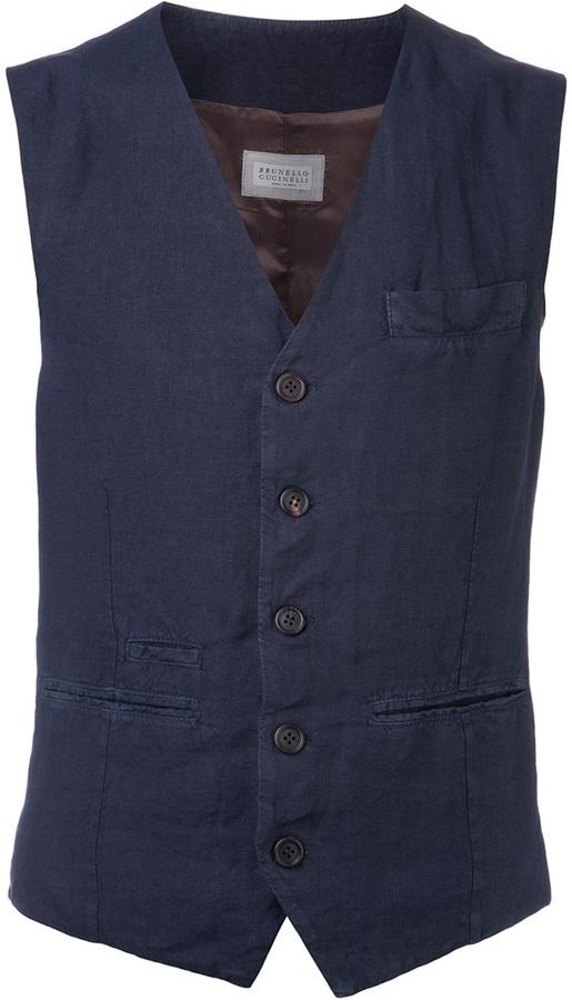 Chaleco de vestir azul marino de Brunello Cucinelli