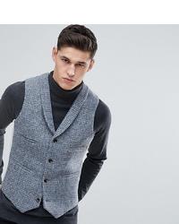 Chaleco de vestir de lana a cuadros gris