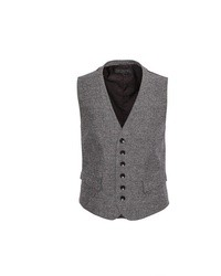 Chaleco de vestir de lana de espiguilla gris