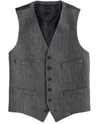 Chaleco de vestir de lana de espiguilla gris de Ludlow
