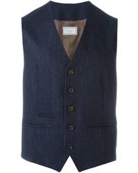 Chaleco de vestir de lana de rayas verticales azul marino de Brunello Cucinelli