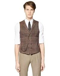 Chaleco de vestir de lana de tartán marrón