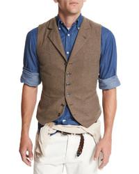 Chaleco de vestir de lana marrón de Brunello Cucinelli