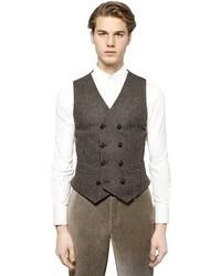 Chaleco de vestir de lana marrón de Giorgio Armani