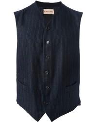 Chaleco de vestir de rayas verticales azul marino