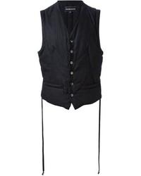 Chaleco de vestir de rayas verticales negro de Ann Demeulemeester