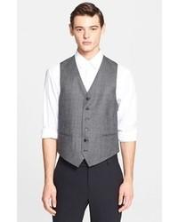 Chaleco de vestir de tartán gris de John Varvatos