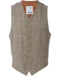 Chaleco de vestir de tartán marrón