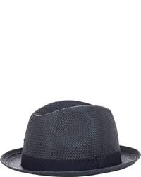 Chapeau de paille bleu marine Barneys New York