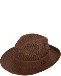 Chapeau de paille brun foncé Barneys New York