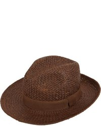 Chapeau de paille marron foncé Barneys New York