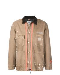Chaqueta con cuello y botones marrón claro de Heron Preston
