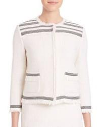 Chaqueta de lana con relieve en beige