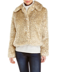 Chaqueta de piel de leopardo en beige
