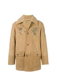 Chaqueta de piel de oveja marrón claro de Alexander McQueen