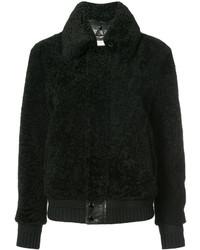Chaqueta de piel de oveja negra de Saint Laurent