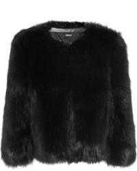 Chaqueta de piel negra de DKNY