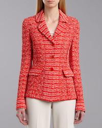 Chaqueta de tweed roja de St. John Collection