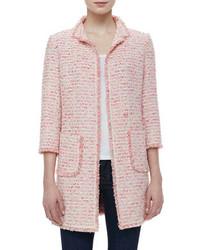 Chaqueta de tweed rosada