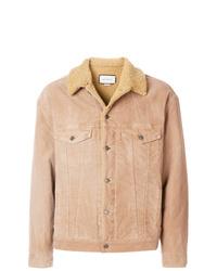 Chaqueta estilo camisa de ante marrón claro de Gucci
