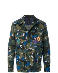 Chaqueta estilo camisa de camuflaje verde oscuro