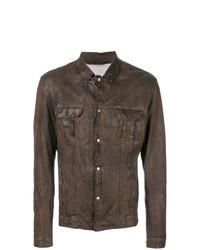 Chaqueta estilo camisa de cuero en marrón oscuro