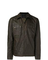Chaqueta estilo camisa de cuero en marrón oscuro de Belstaff