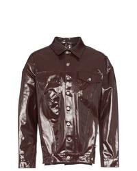 Chaqueta estilo camisa de cuero en marrón oscuro de Diesel Red Tag