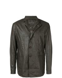 Chaqueta estilo camisa de cuero en marrón oscuro de John Varvatos