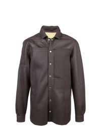 Chaqueta estilo camisa de cuero en marrón oscuro de Rick Owens