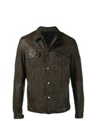 Chaqueta estilo camisa de cuero en marrón oscuro de Salvatore Santoro